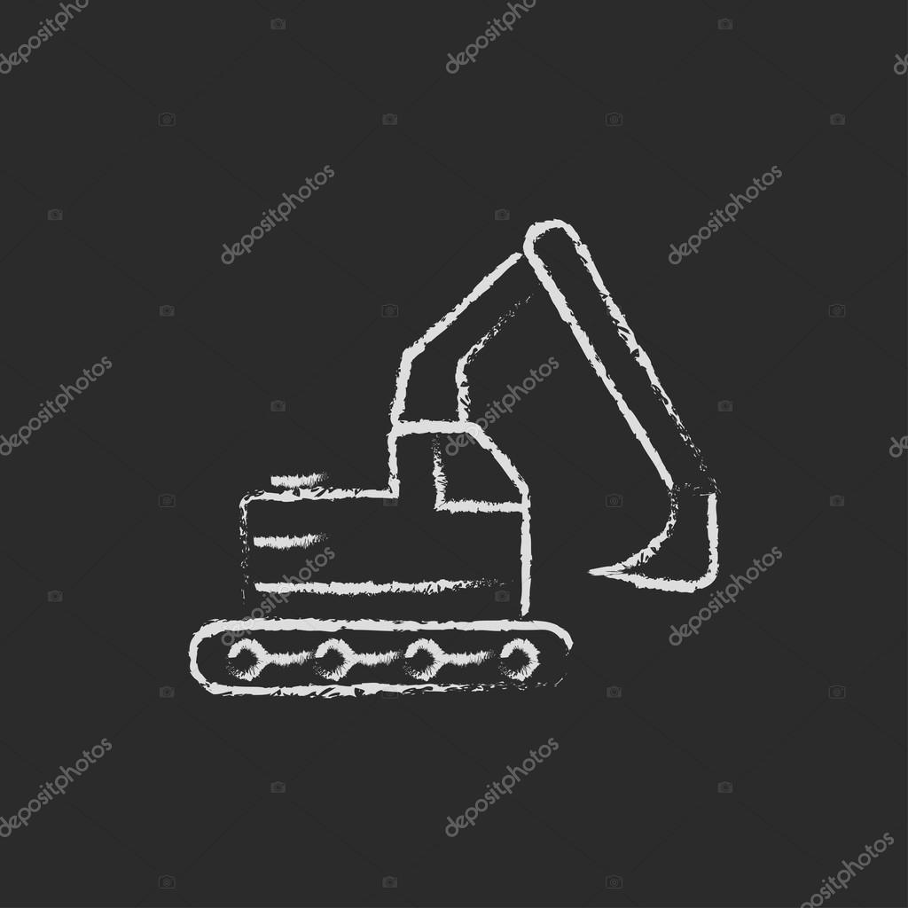 Excavator icon drawn in chalk.