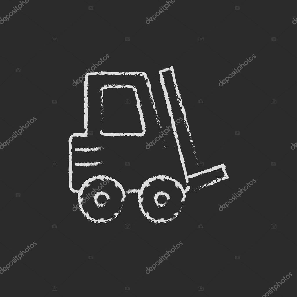 Forklift icon drawn in chalk.