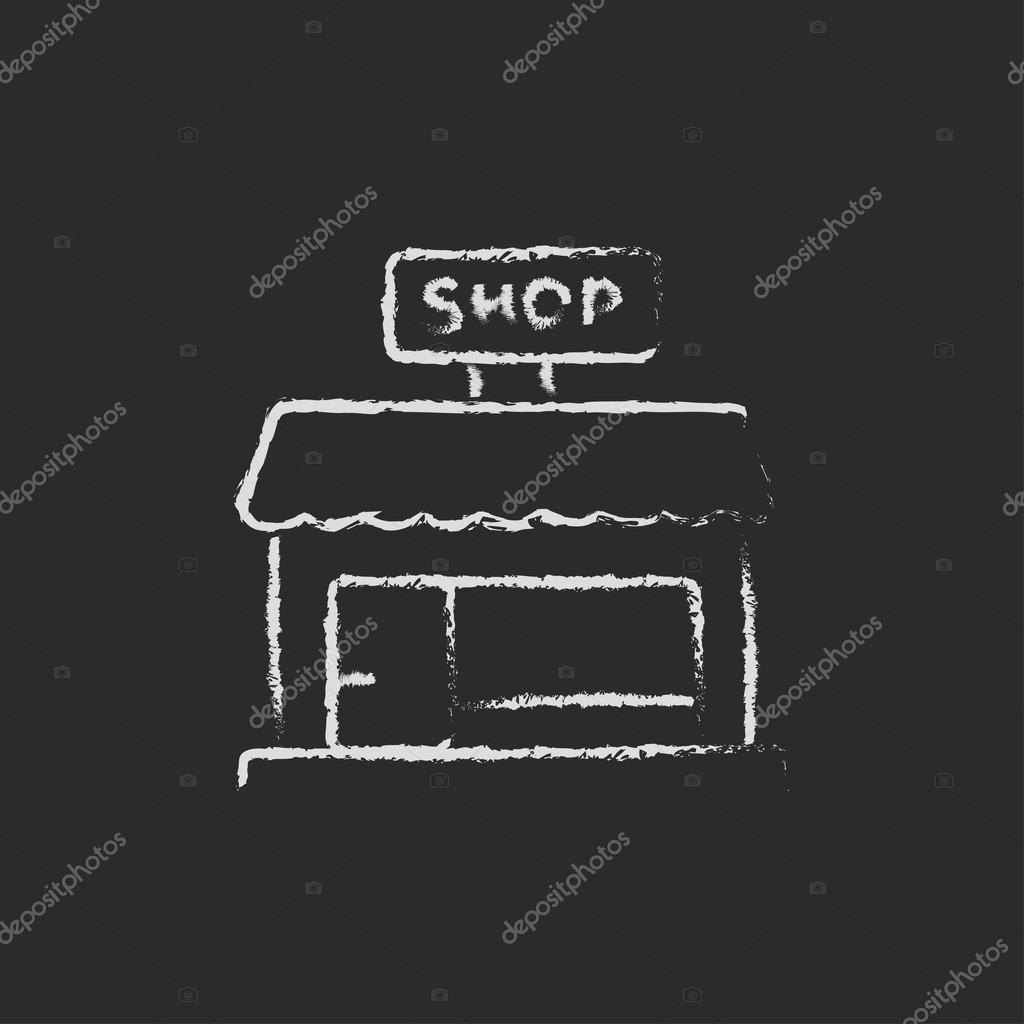 Shop store icon drawn in chalk.