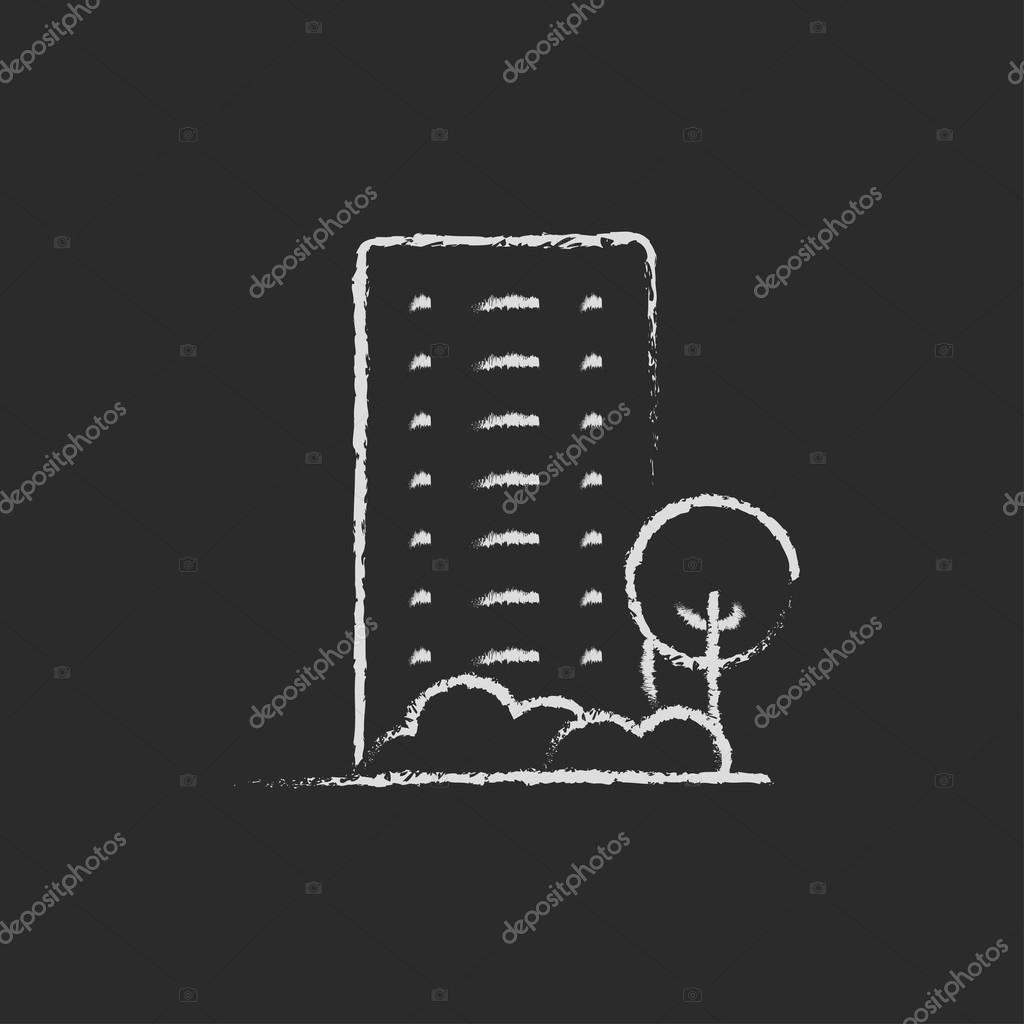 Residential building with trees icon drawn in chalk.