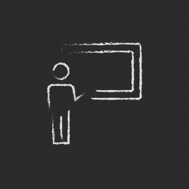 Professor and blackboard icon drawn in chalk.