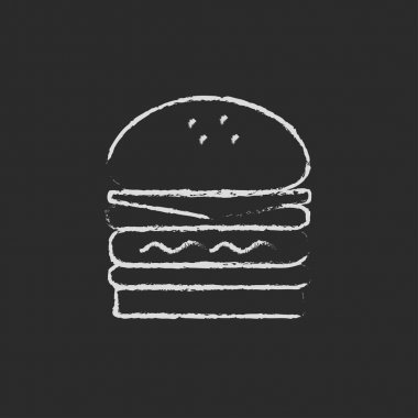 Double burger icon drawn in chalk.