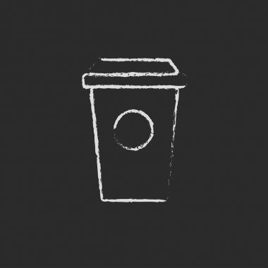 Disposable cup icon drawn in chalk.