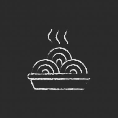 Plate of a hot mealicon drawn in chalk.