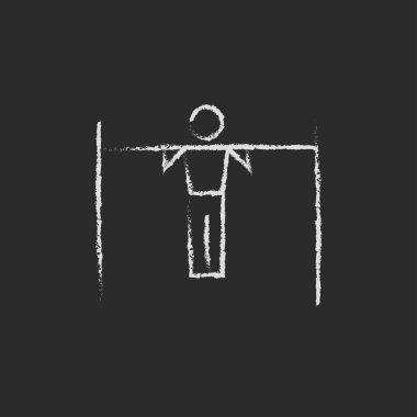 Gymnast on the bar icon drawn in chalk.