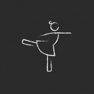 Female dancer icon drawn in chalk.