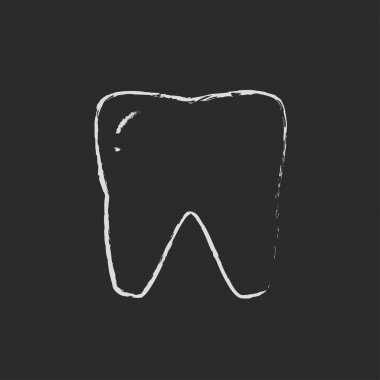 Tooth icon drawn in chalk.