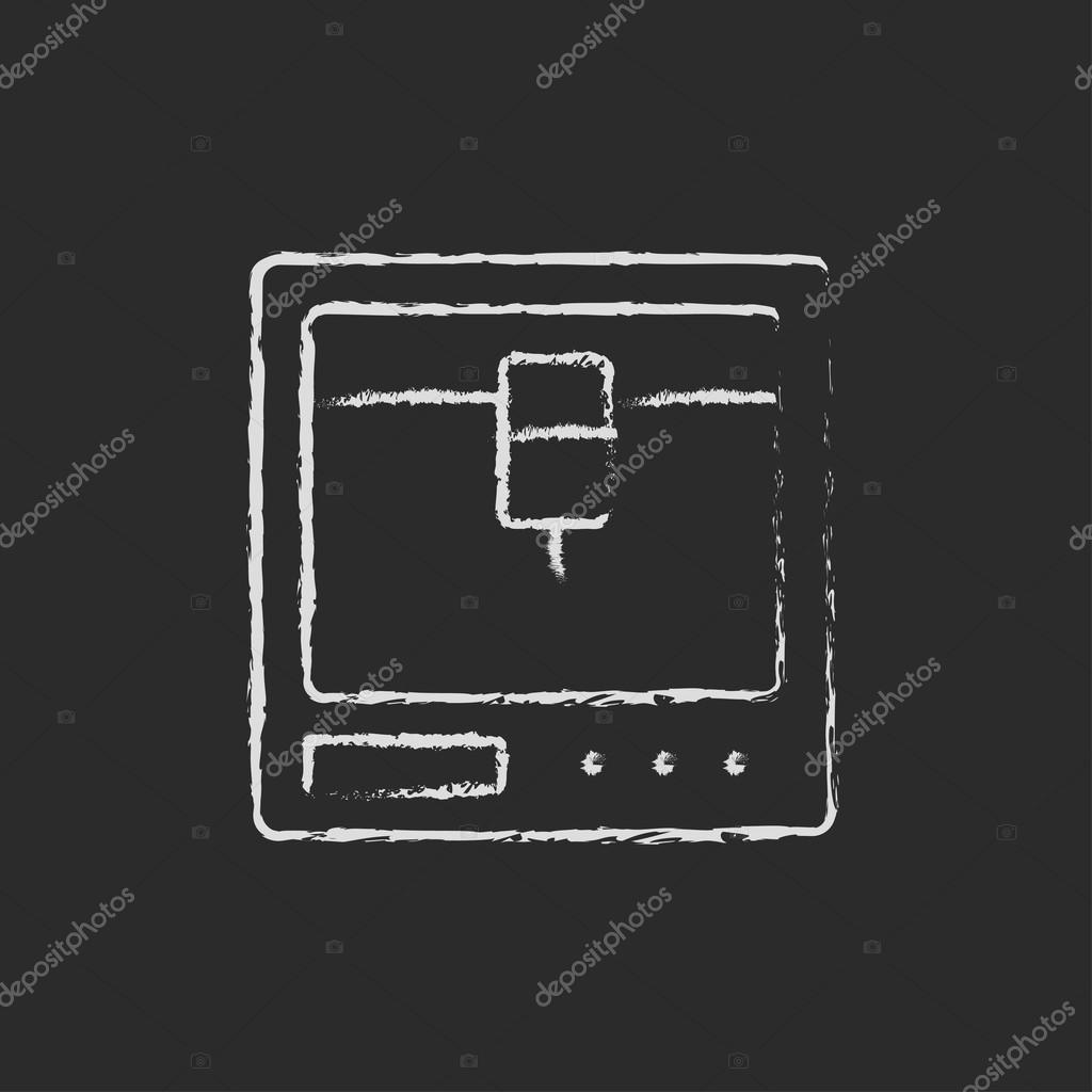 Drei D drei d drucken symbol in kreide gezeichnet stockvektor rastudio
