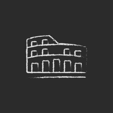 Coliseum icon drawn in chalk.