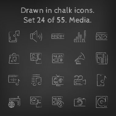 Media icon set drawn in chalk.