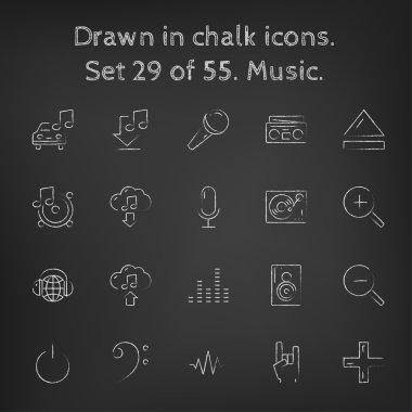 Music icon set drawn in chalk.