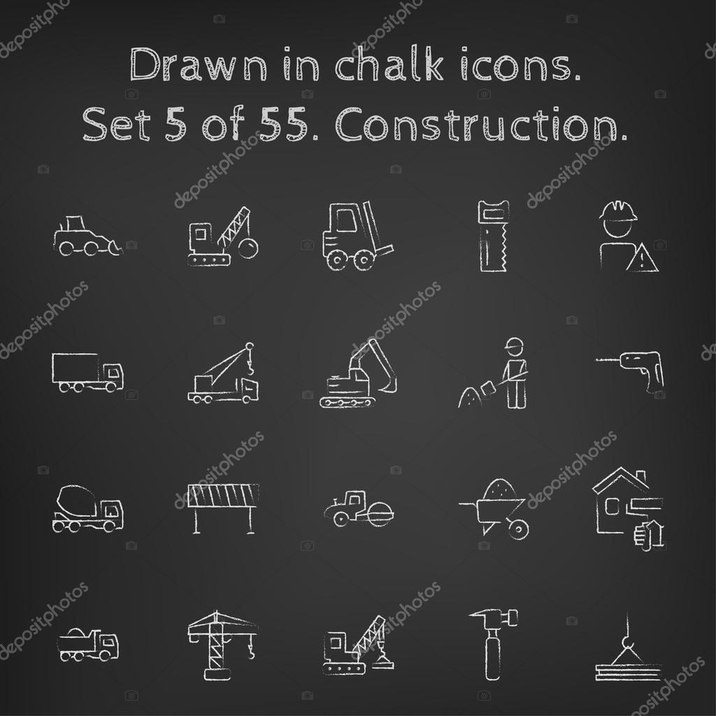 Construction icon set drawn in chalk.