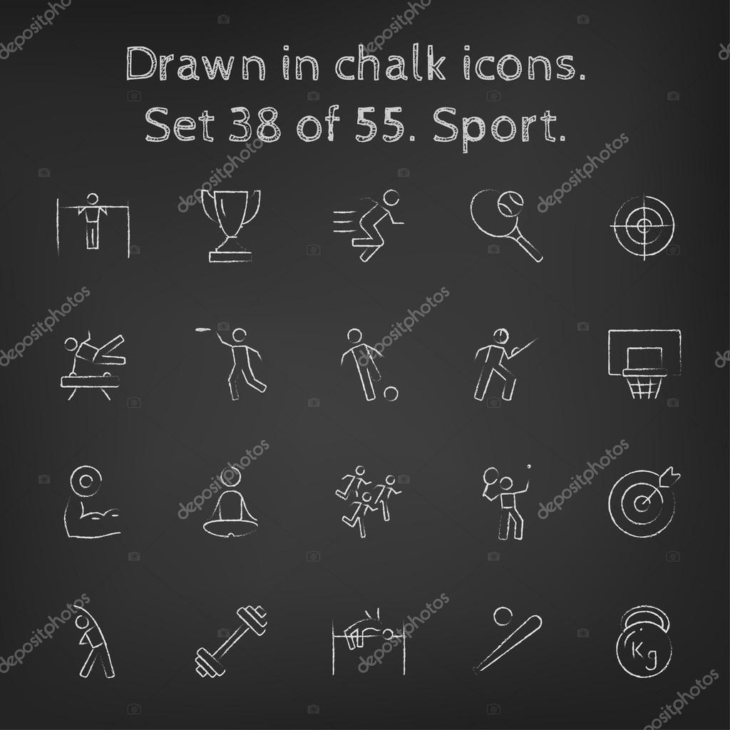 Sport icon set drawn in chalk.