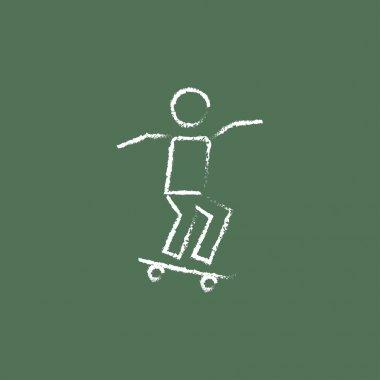 Man on skateboard icon drawn in chalk.