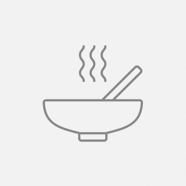 Bowl of hot soup with spoon line icon.