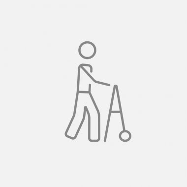 Man with walker line icon.