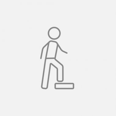 Man doing step exercise line icon.