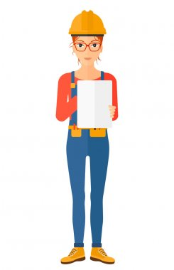 Confident  builder making some notes in his tablet vector flat design illustration isolated on white background. Vertical layout stock vector