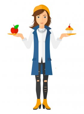 Woman with apple and cake.