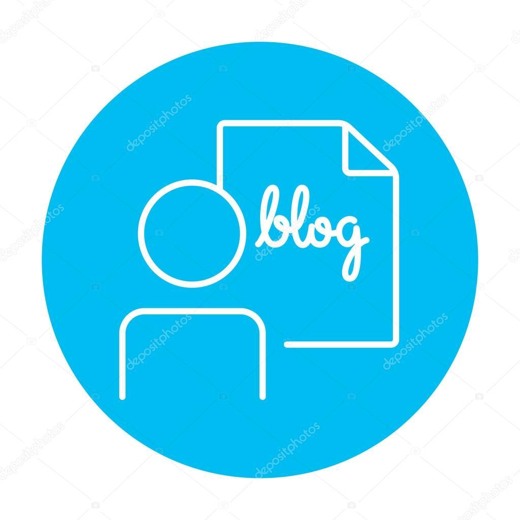 Hombre Y La Hoja Con El Icono De Linea Palabra Blog
