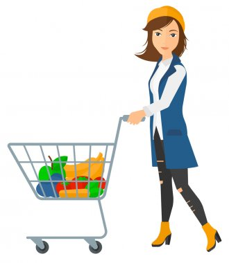 A woman pushing a supermarket cart with some goods in it vector flat design illustration isolated on white background stock vector