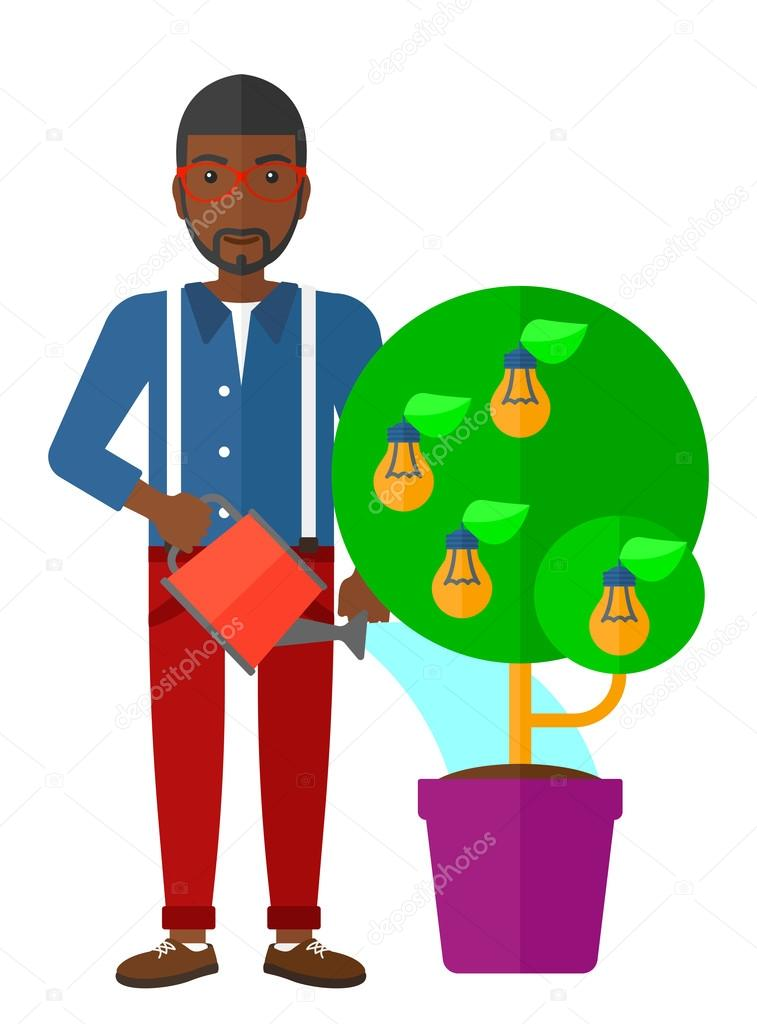 Man watering tree with light bulbs.
