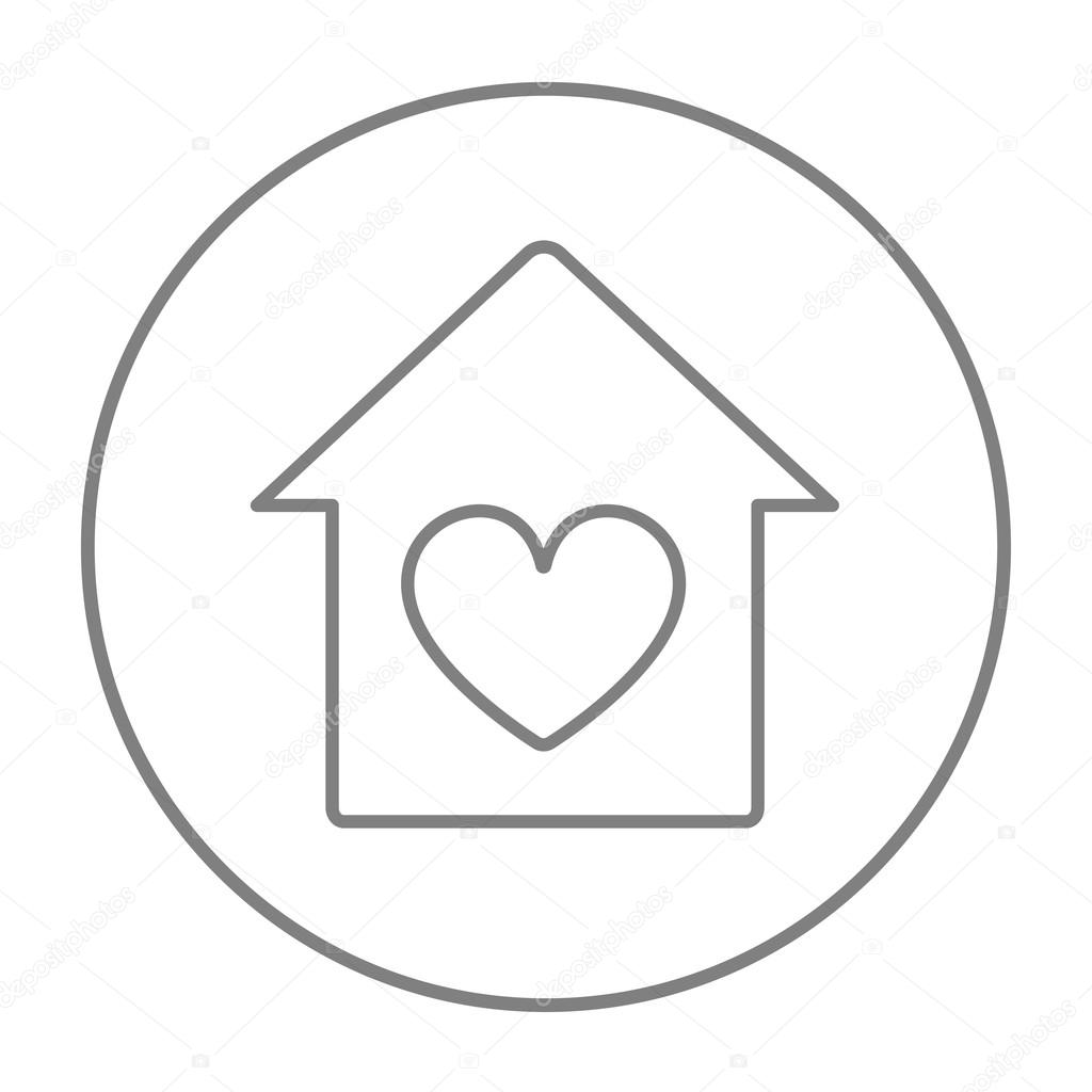 Casa Con Icono De Línea Del Símbolo De Corazón Vector De Stock