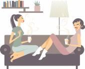Fényképek női barátok csésze kávé beszél otthon