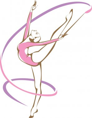 Rhythmic gymnast with a ribbon