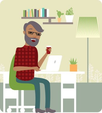 Young man freelancer working from home office clip art vector