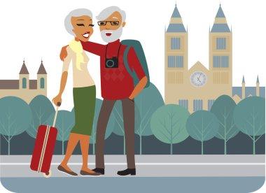 Happy senior tourists