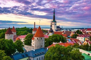 Cityscape of old town Tallinn city at dusk, Estonia
