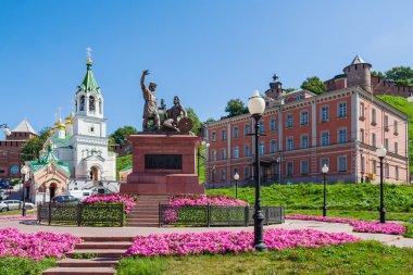 Skoba Square in Nizhny Novgorod. In the foreground - Minin and P