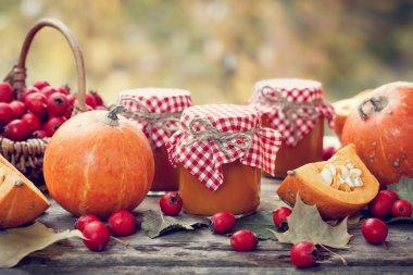 Pumpkin jam, puree or sauce and hawthorn berries.