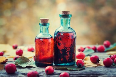 Tincture bottles of hawthorn berries and red thorn apples