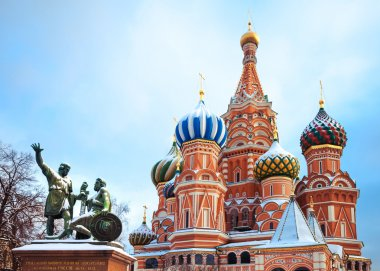 Saint Basil's Cathedral and  monument to Minin and Pozharsky