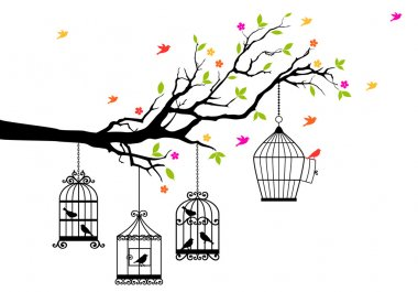 Freedom, tree branch with birds and open birdcage, vector illustration stock vector