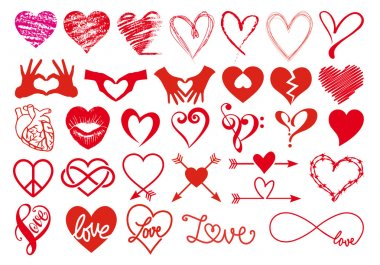 Heart, love, Valentines day, big set of vector graphic design elements stock vector