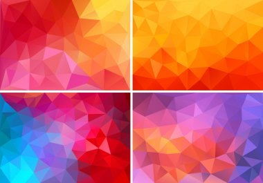 red and pink low poly backgrounds, vector set