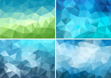 blue and green low poly backgrounds, vector set