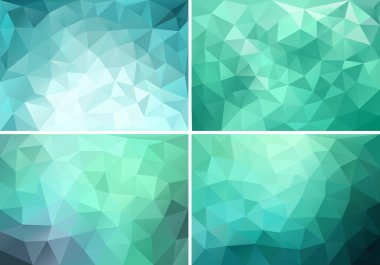 teal low poly backgrounds, vector set