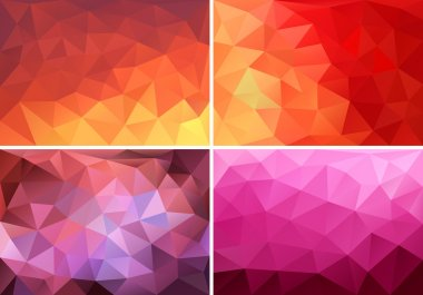 red, orange and pink low poly backgrounds, vector set