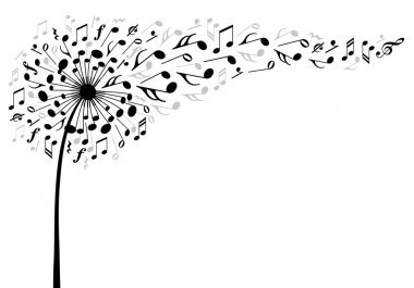Music dandelion flower, vector