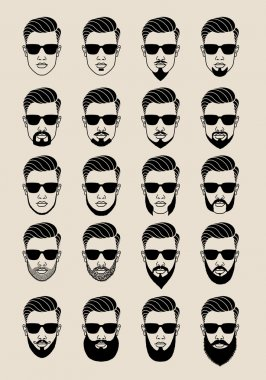 faces with beard, user, avatar, vector icon set