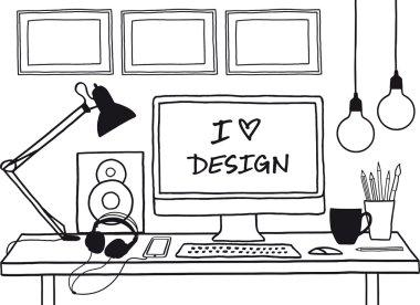 design studio mock up, vector
