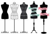 Mode Schaufensterpuppen, Vektor Gruppe
