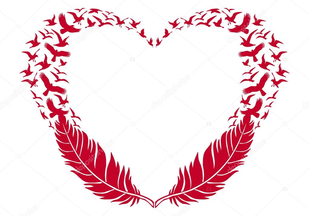 red heart with feathers and flying birds, vector