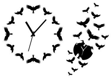 clock with flying birds, vector