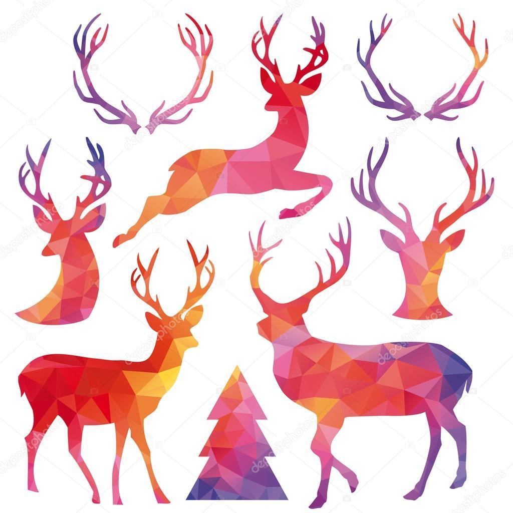cerf de noel Cerf de Noël de polygone, set vector — Image vectorielle beaubelle  cerf de noel
