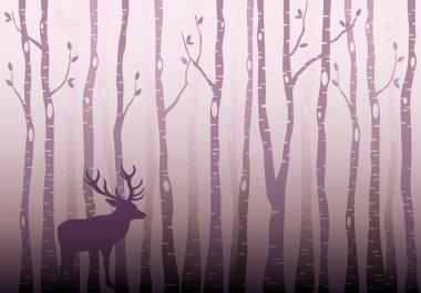 Birch tree forest with deer and birds, winter wonderland, vector illustration stock vector